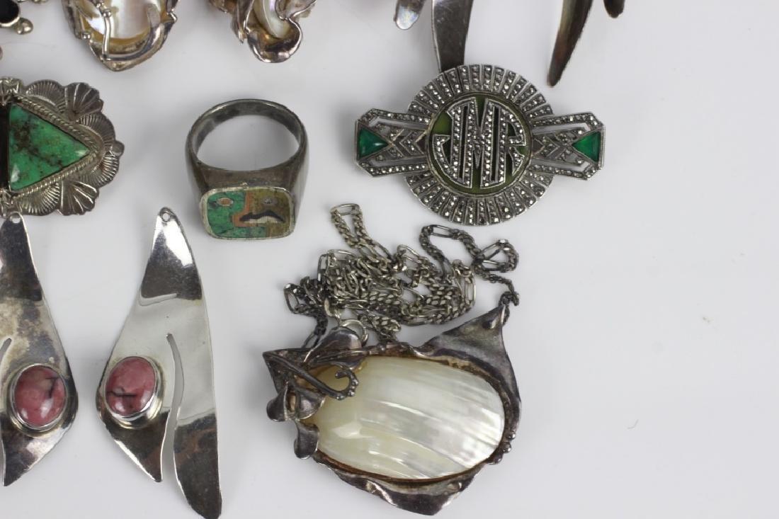 16pc Group Lot of Sterling Silver & Enamel Jewelry - 4