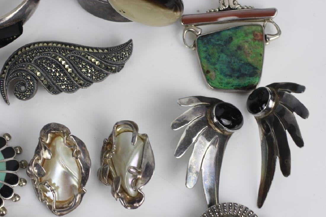 16pc Group Lot of Sterling Silver & Enamel Jewelry - 6