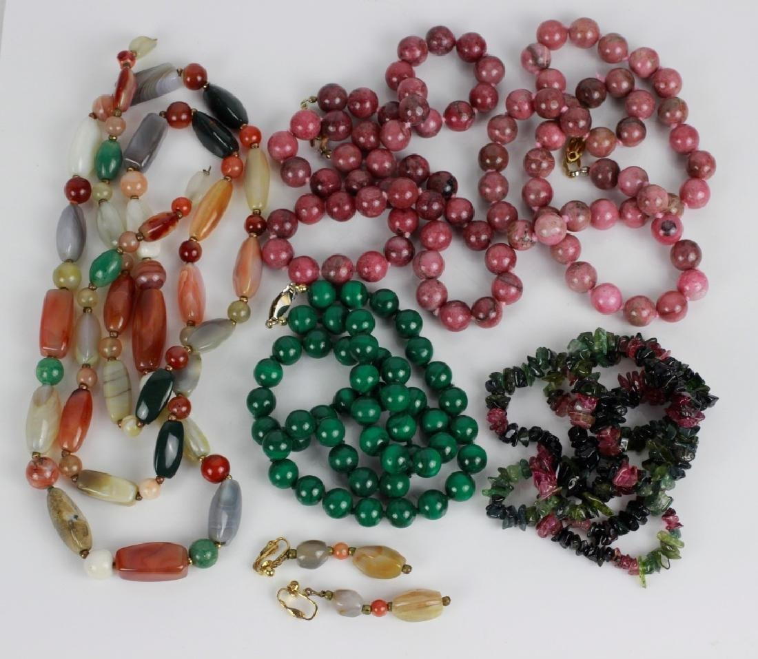 7pc Group Lot of Hardstone Necklaces & Earrings