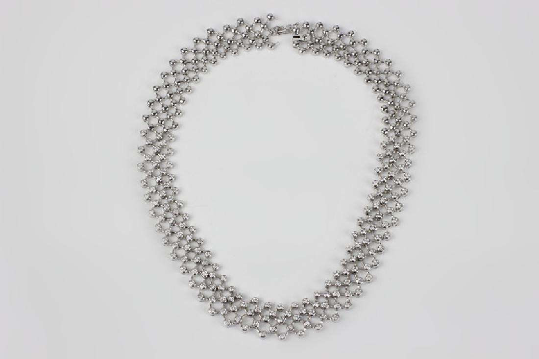 18k White Gold Necklace & 6ctw Total Diamonds - 2