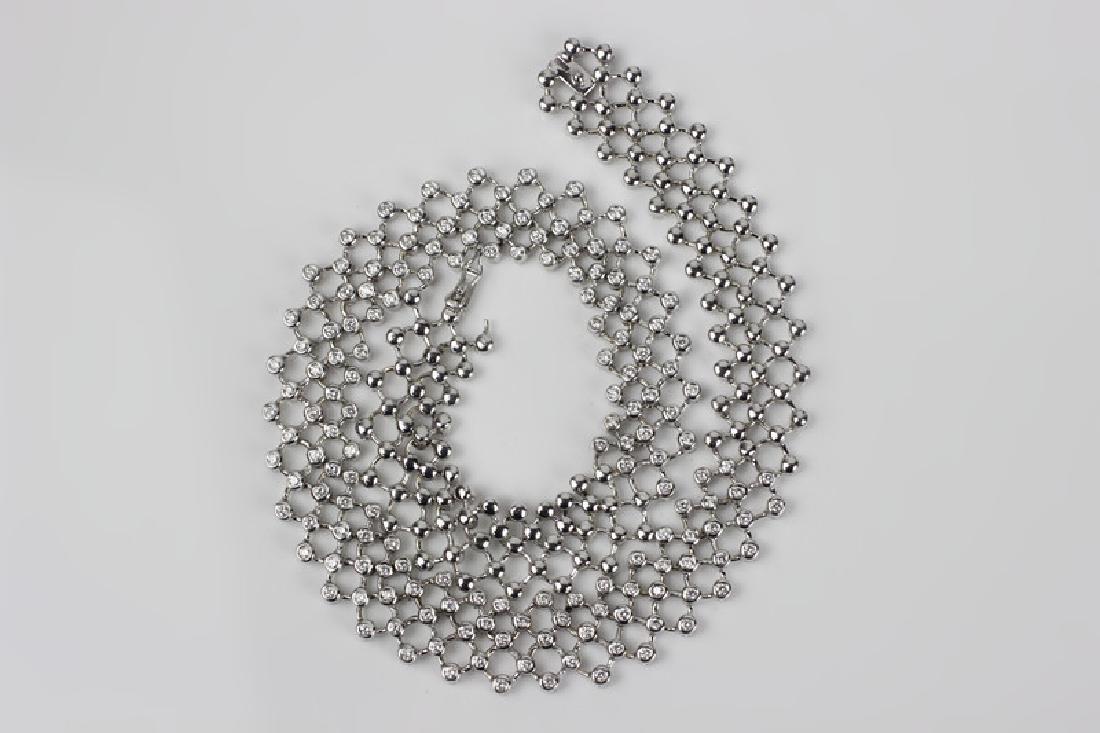 18k White Gold Necklace & 6ctw Total Diamonds - 7