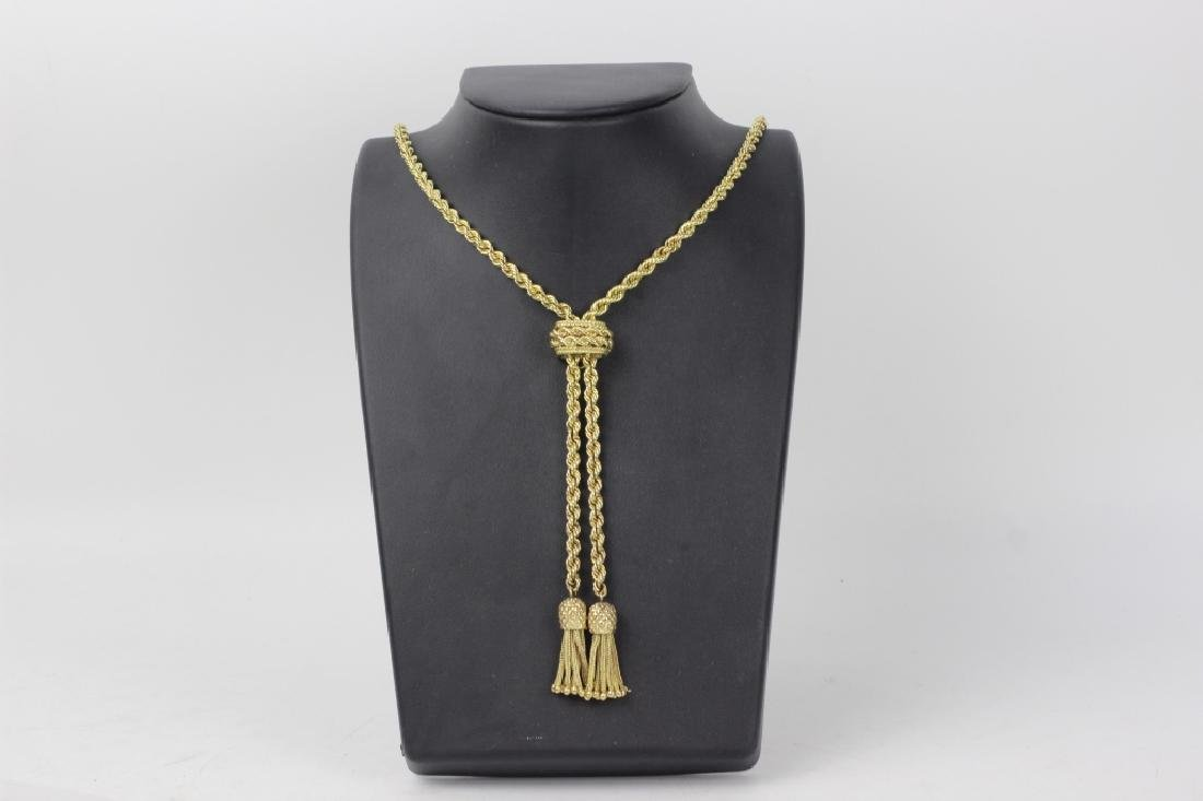 14k Gold Long Rope Chain Necklace