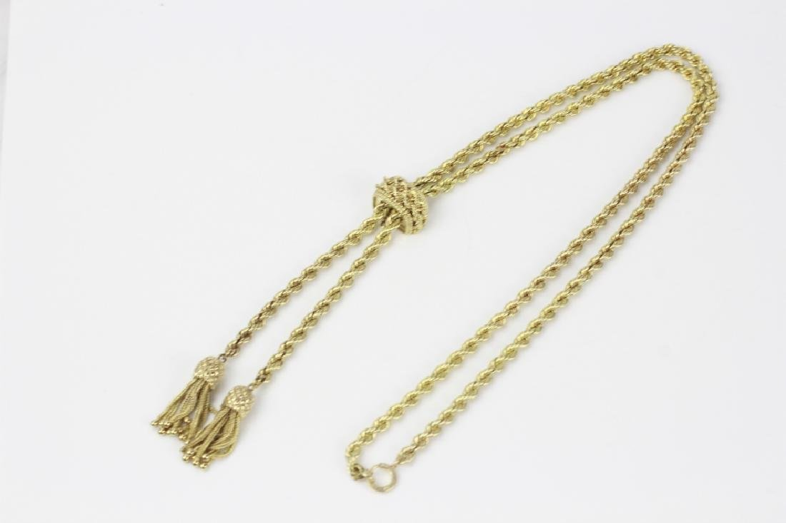 14k Gold Long Rope Chain Necklace - 2