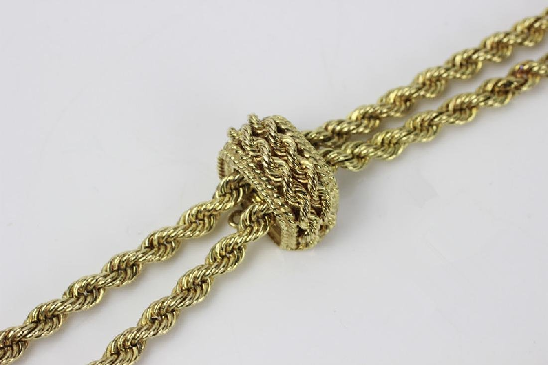 14k Gold Long Rope Chain Necklace - 3