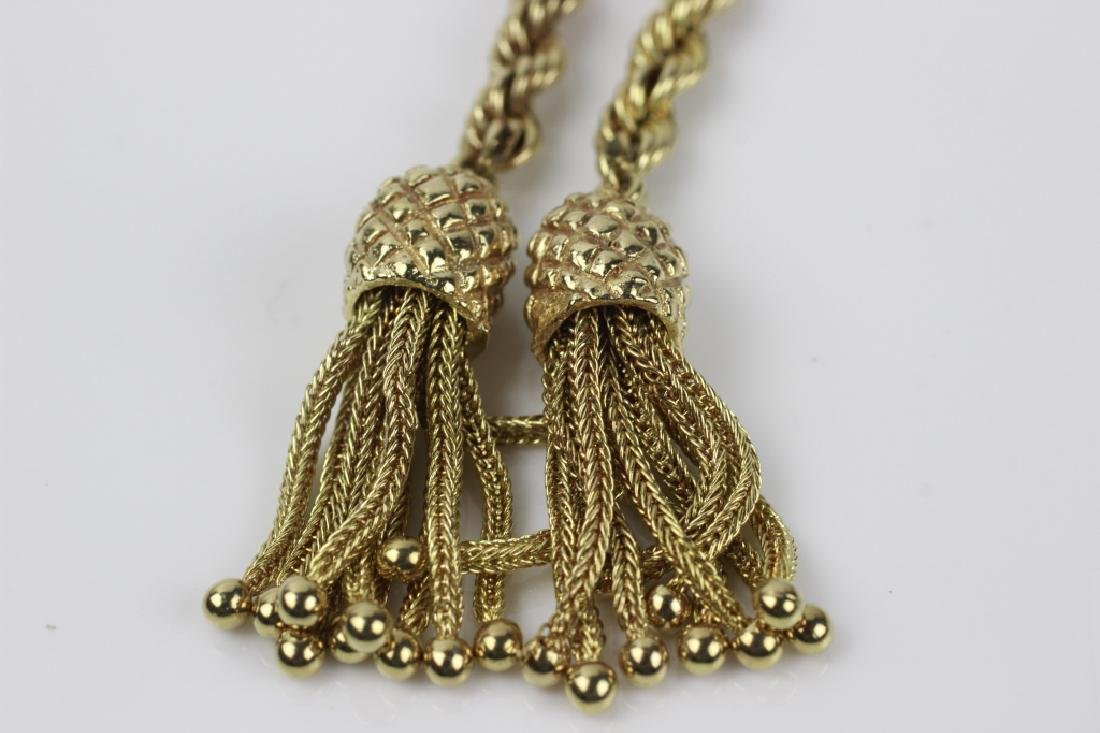14k Gold Long Rope Chain Necklace - 4