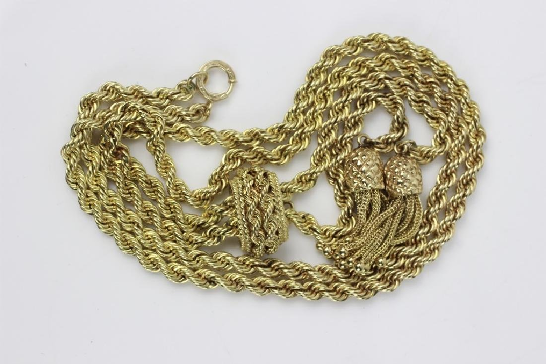 14k Gold Long Rope Chain Necklace - 5
