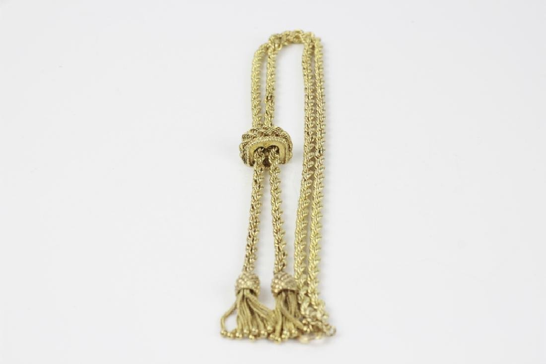 14k Gold Long Rope Chain Necklace - 8