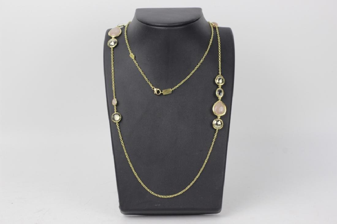 18k Gold Ippolita Long Chain w/ Precious Stones