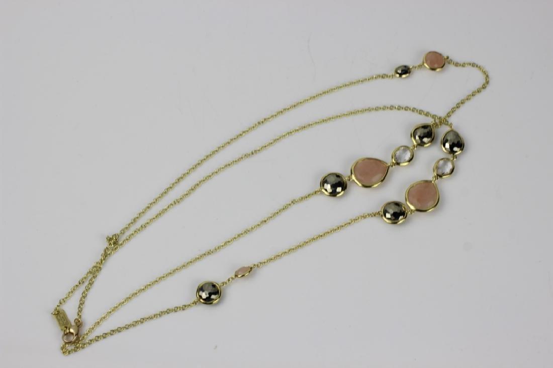 18k Gold Ippolita Long Chain w/ Precious Stones - 2