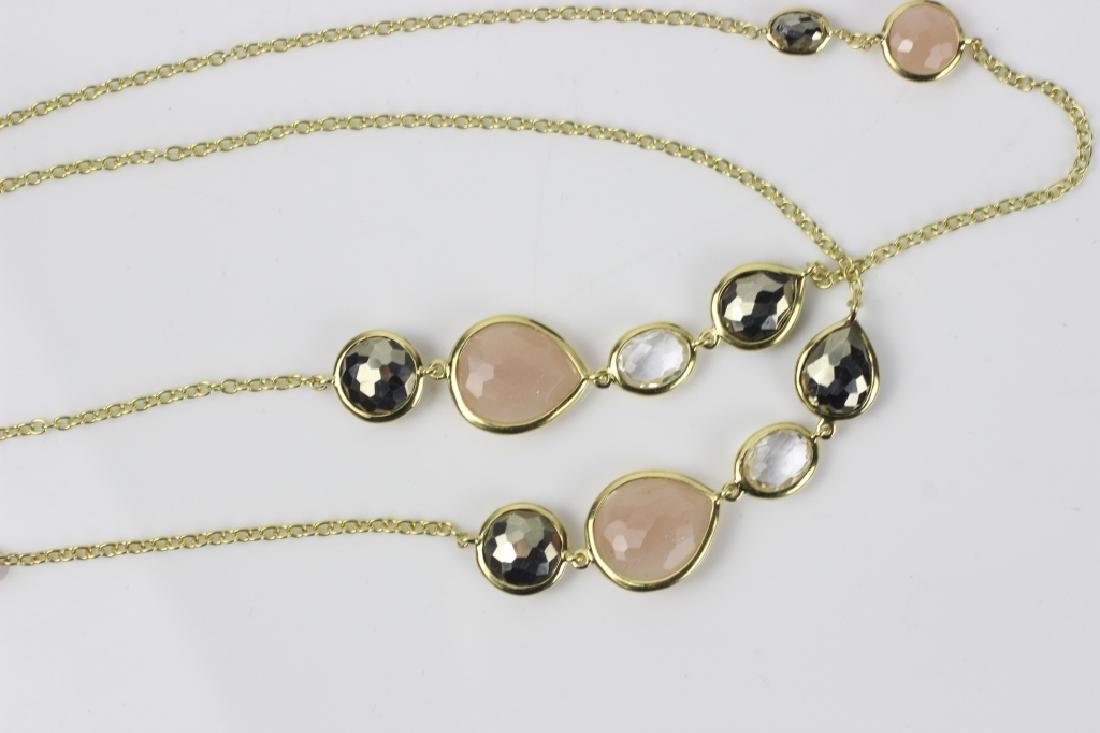 18k Gold Ippolita Long Chain w/ Precious Stones - 3