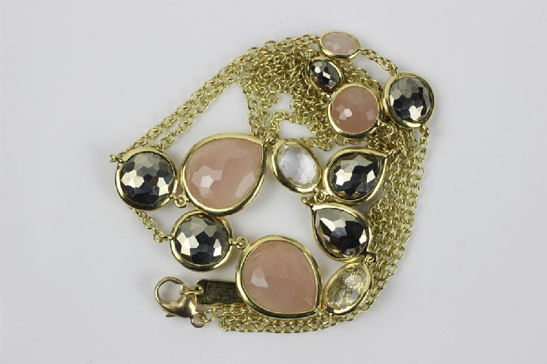 18k Gold Ippolita Long Chain w/ Precious Stones - 4