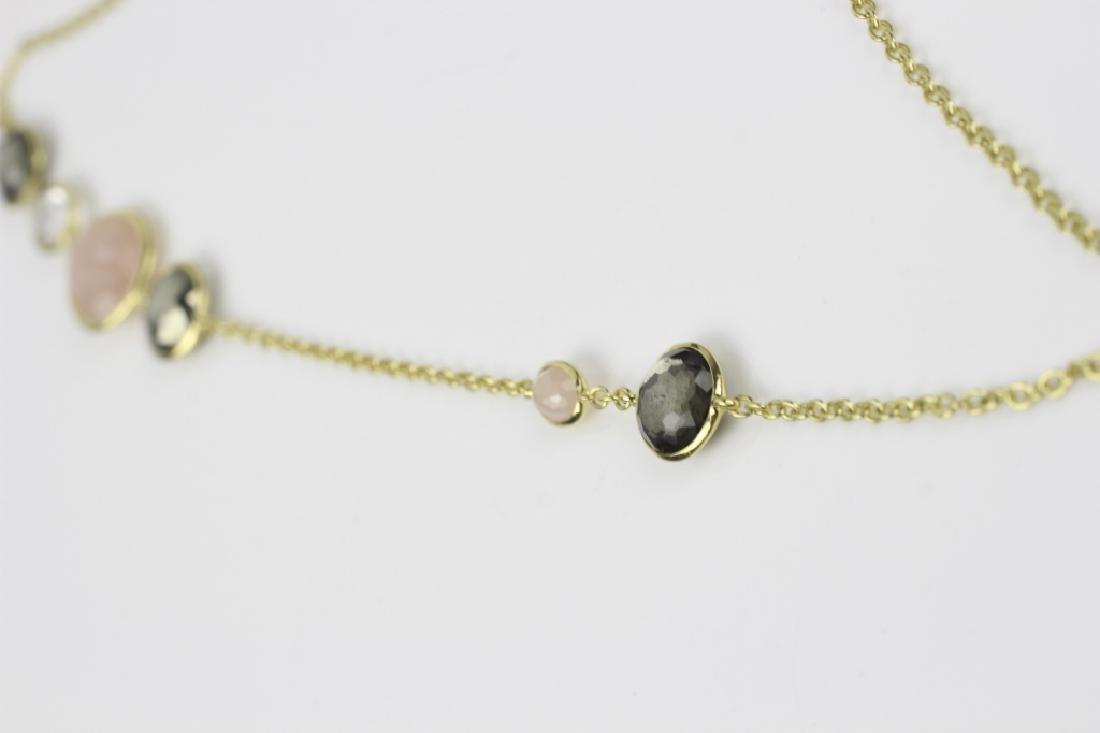 18k Gold Ippolita Long Chain w/ Precious Stones - 5