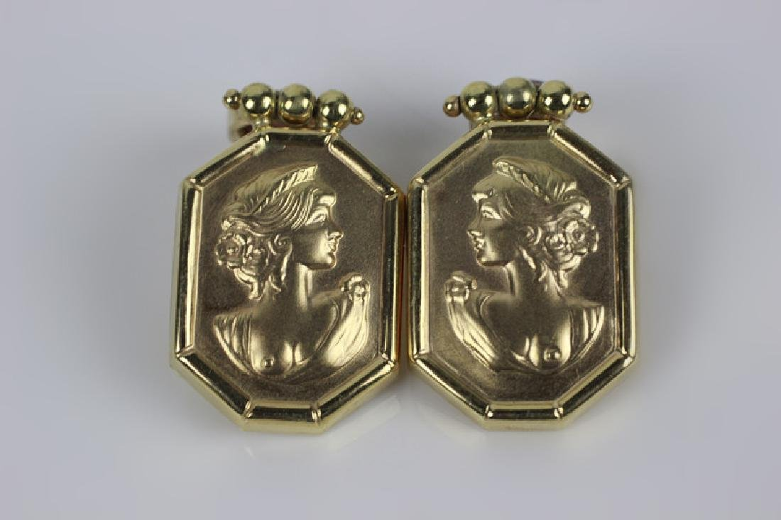 14k Gold Earring w/ Red Stones