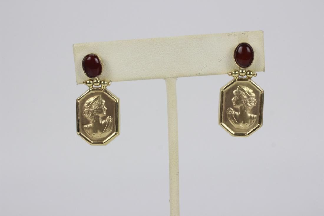 14k Gold Earring w/ Red Stones - 2