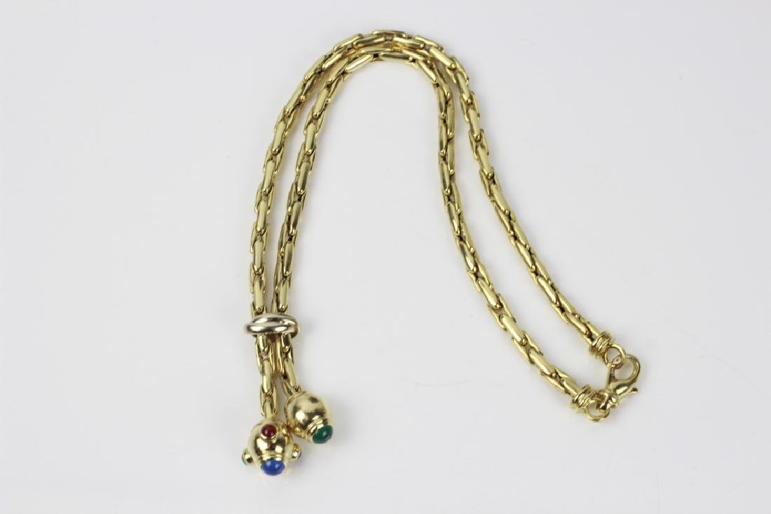 14k Gold Necklace w/ Cabochon Stones - 3