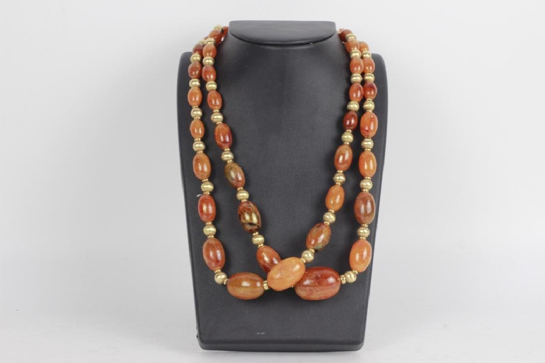18k Gold & Amber Beaded Necklace