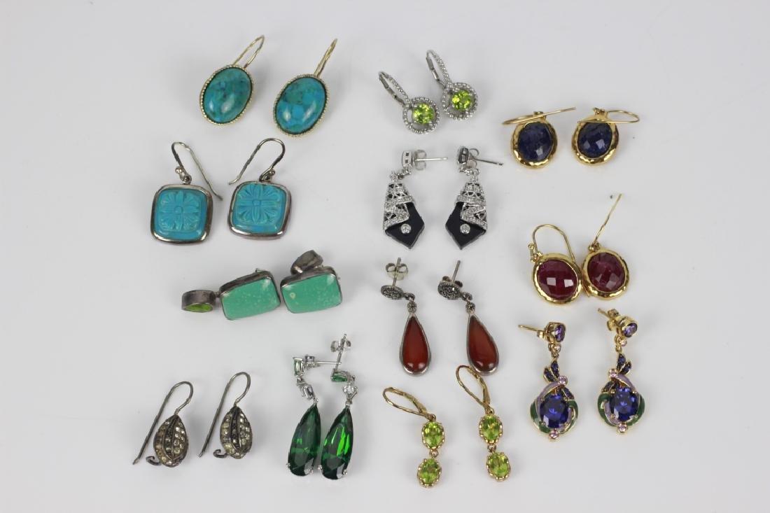 12 Pair of Sterling Silver Earrings w/ Various Sto
