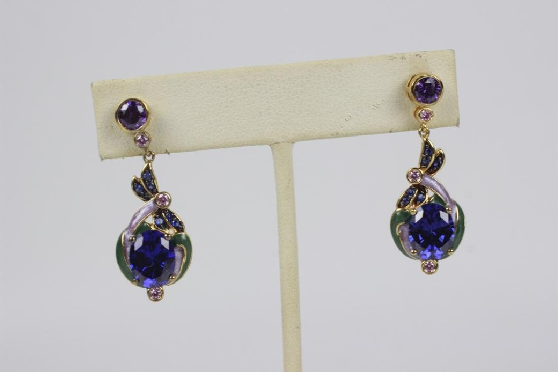 12 Pair of Sterling Silver Earrings w/ Various Sto - 3
