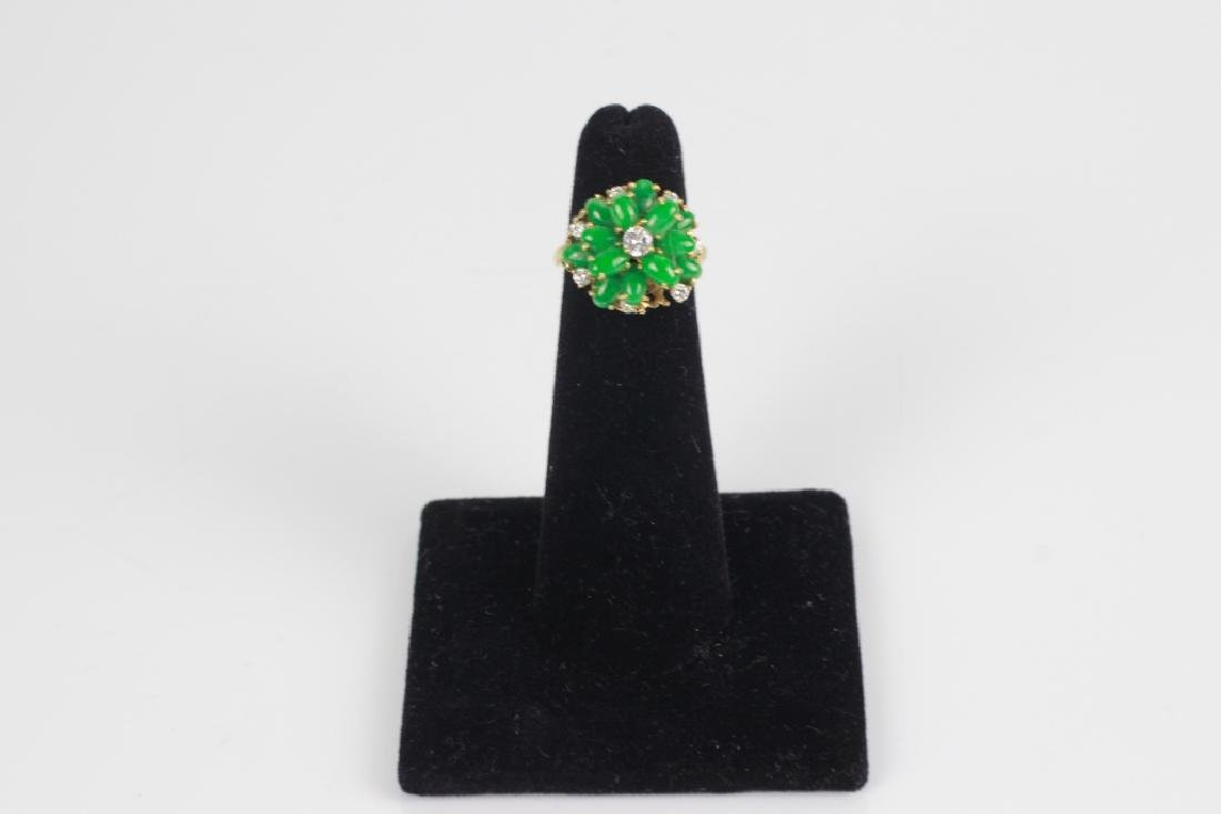 18k Gold, Jade & Diamond Ring
