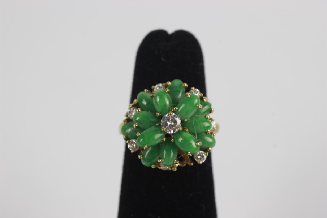 18k Gold, Jade & Diamond Ring - 2