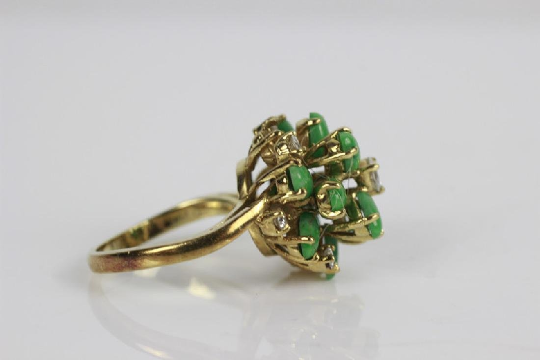 18k Gold, Jade & Diamond Ring - 3