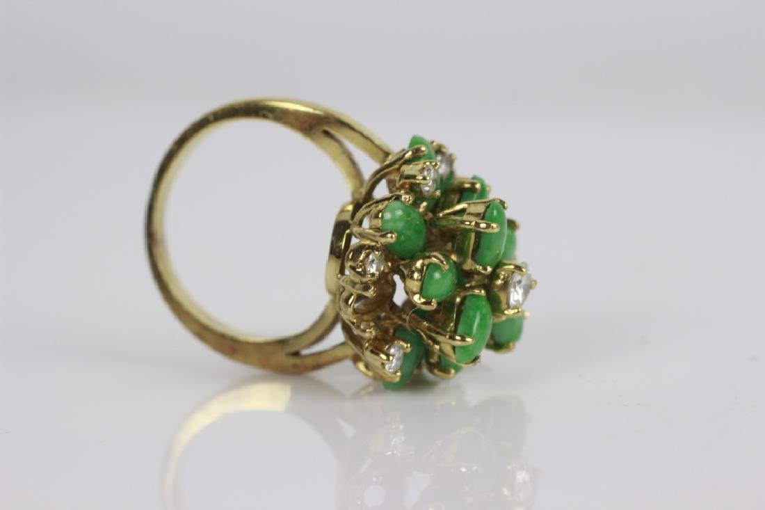 18k Gold, Jade & Diamond Ring - 4
