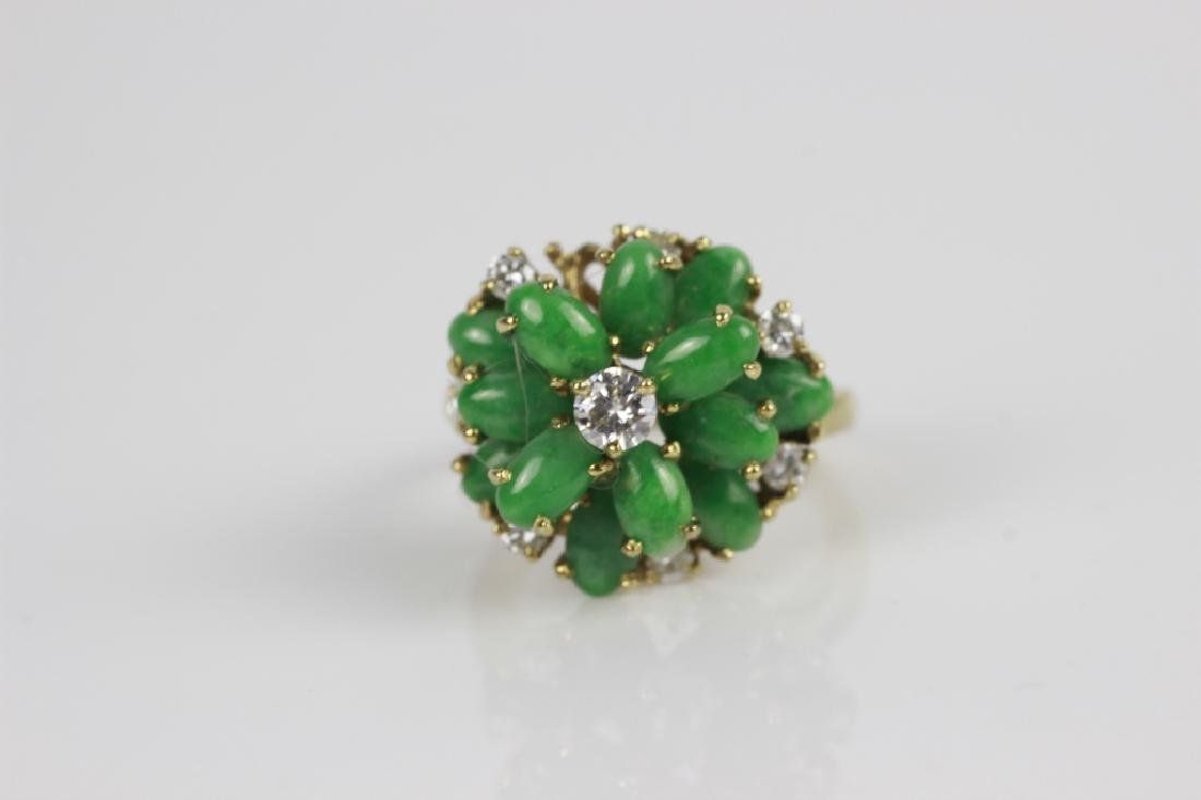 18k Gold, Jade & Diamond Ring - 5