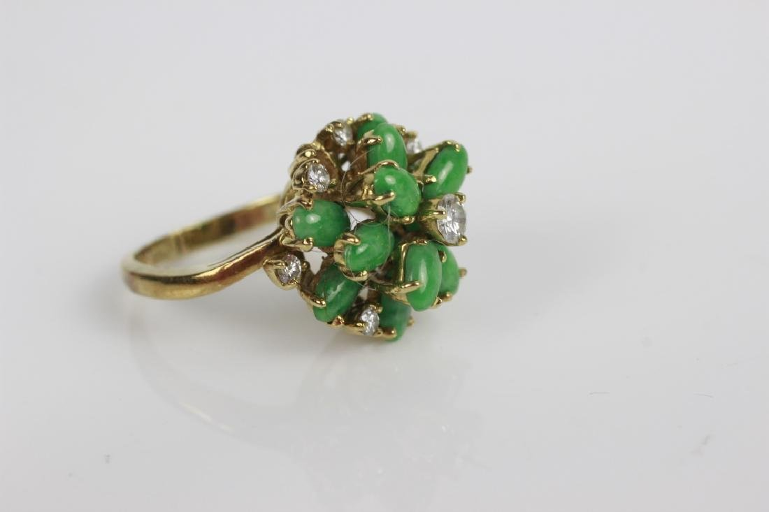 18k Gold, Jade & Diamond Ring - 6