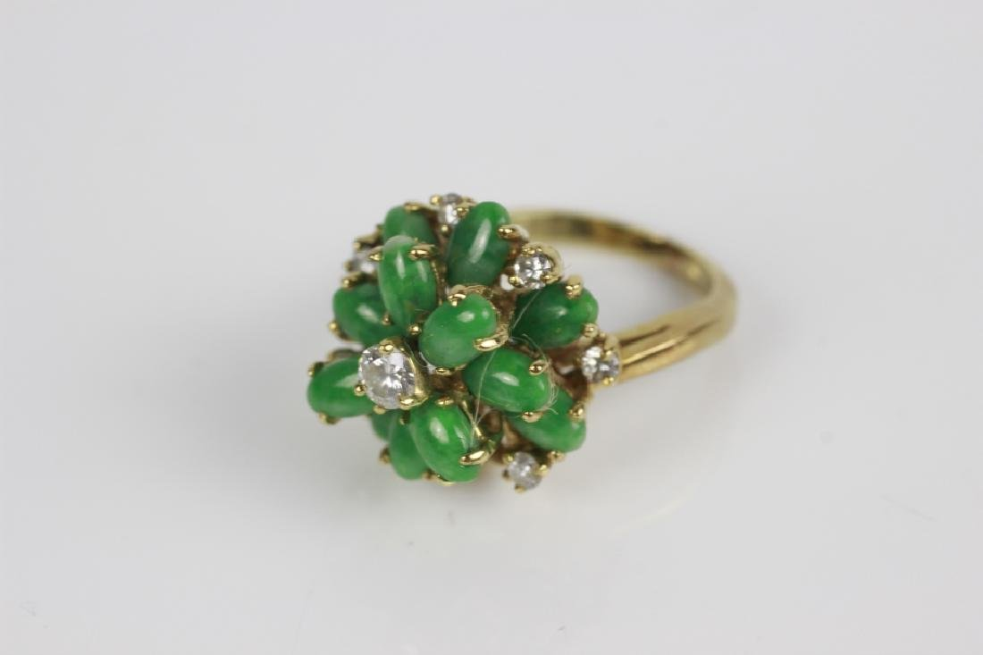 18k Gold, Jade & Diamond Ring - 7