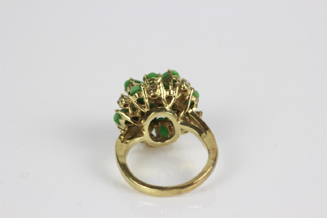18k Gold, Jade & Diamond Ring - 8