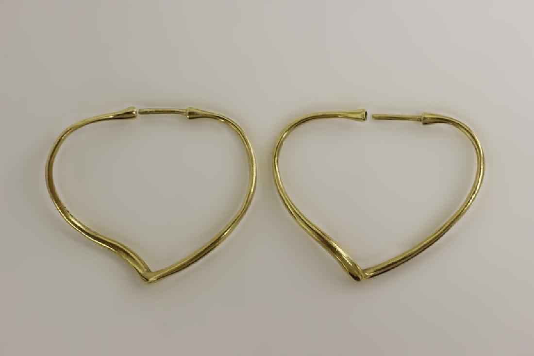 Pair of 18k Gold Tiffany Heart Earrings