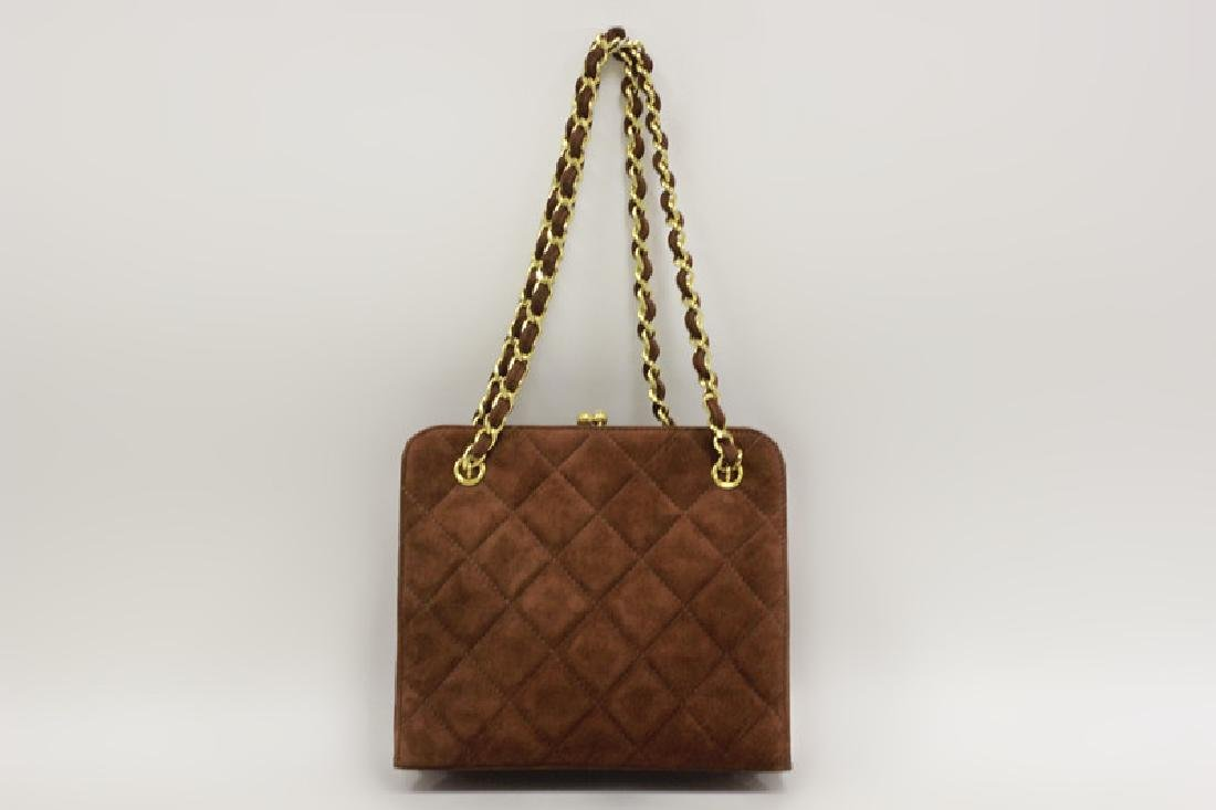 Chanel Authentic Brown Suede Bag