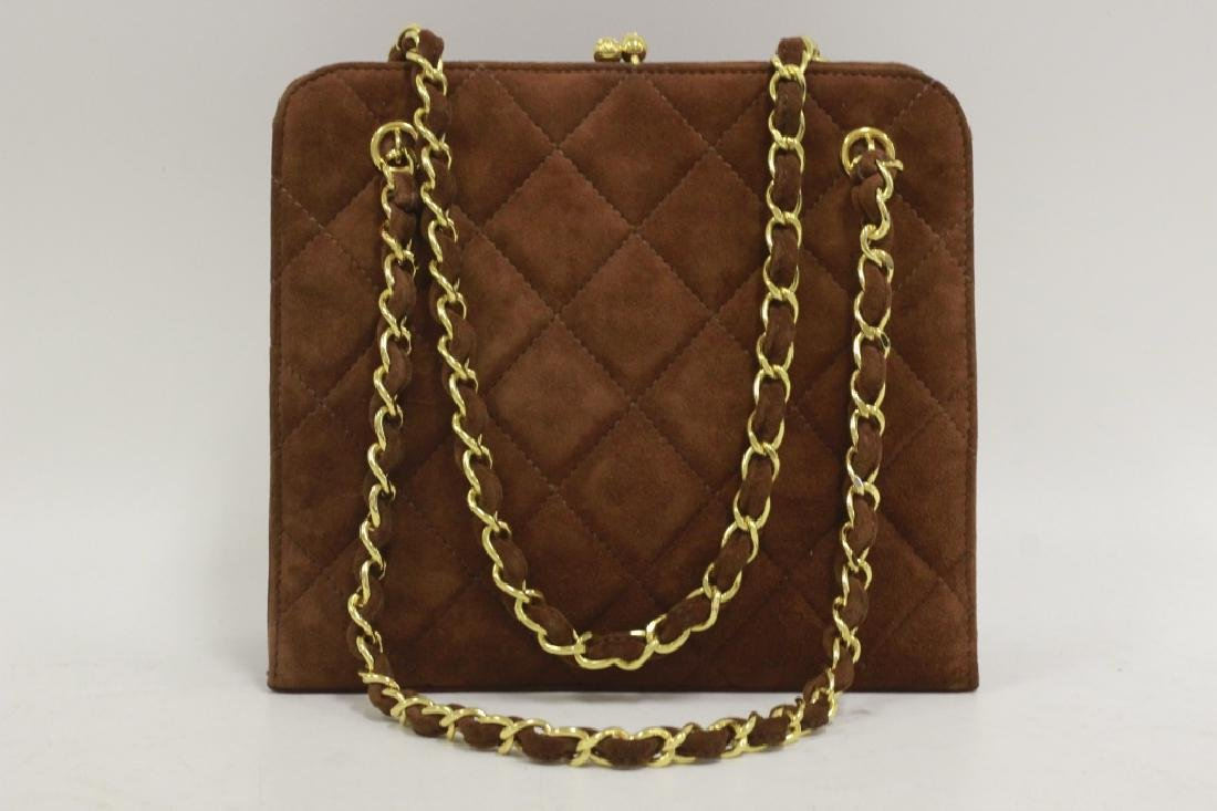 Chanel Authentic Brown Suede Bag - 2