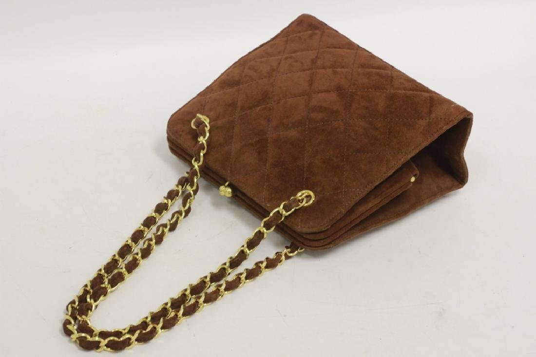 Chanel Authentic Brown Suede Bag - 3