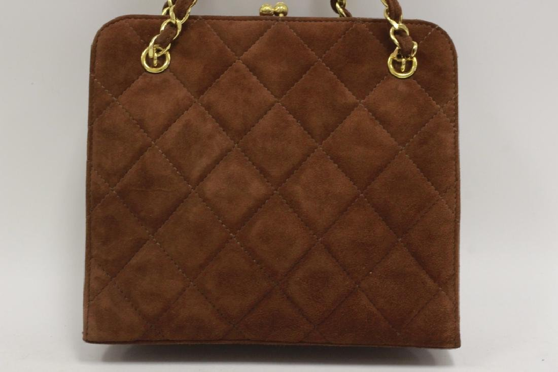 Chanel Authentic Brown Suede Bag - 4