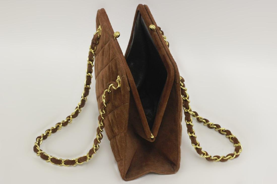 Chanel Authentic Brown Suede Bag - 5