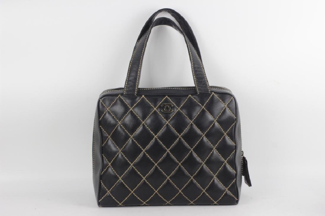 Chanel Authentic Navy Bag w/ White Stitching
