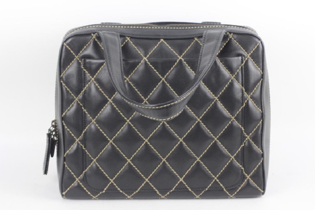 Chanel Authentic Navy Bag w/ White Stitching - 4