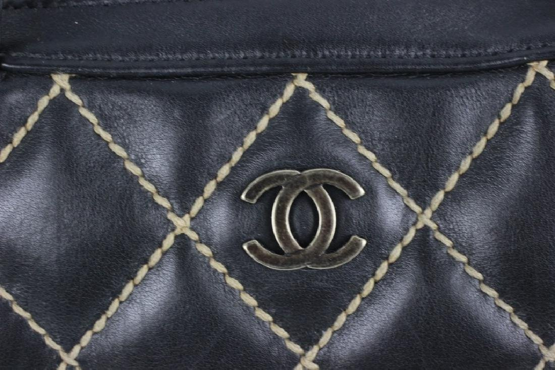 Chanel Authentic Navy Bag w/ White Stitching - 5
