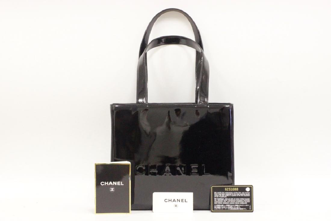 Chanel Authentic Black Patent Small Tote Bag