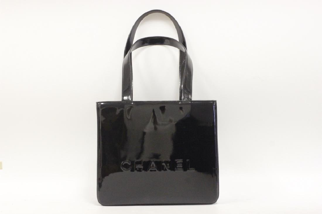 Chanel Authentic Black Patent Small Tote Bag - 2