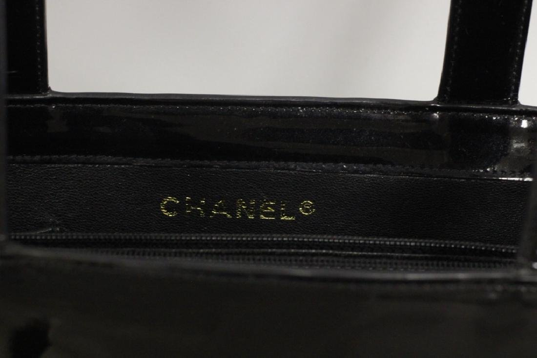 Chanel Authentic Black Patent Small Tote Bag - 3