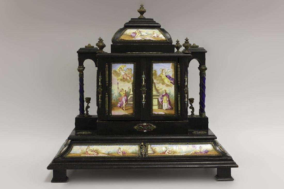 Rare 19thc Viennese Enameled Fitted Table Cabinet