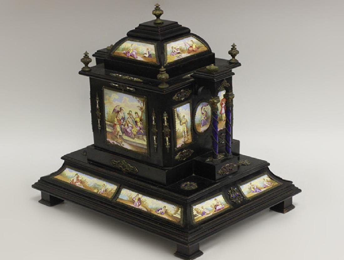 Rare 19thc Viennese Enameled Fitted Table Cabinet - 3