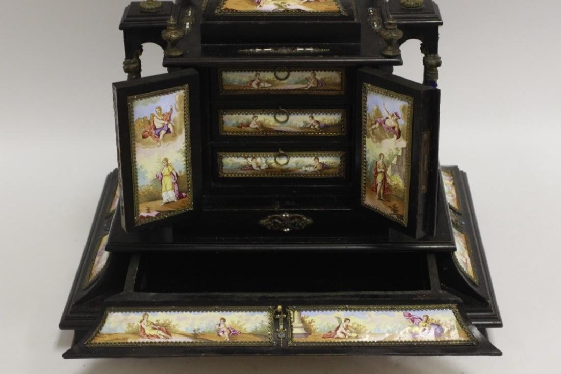 Rare 19thc Viennese Enameled Fitted Table Cabinet - 8