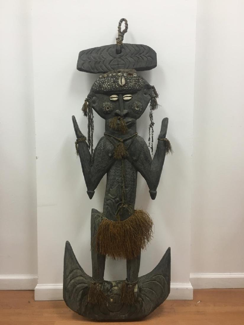 Very Large African Wood Sculpture w/VariousElement