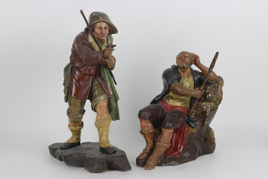 Two 18thc Italian Carved Wood & Painted Figures