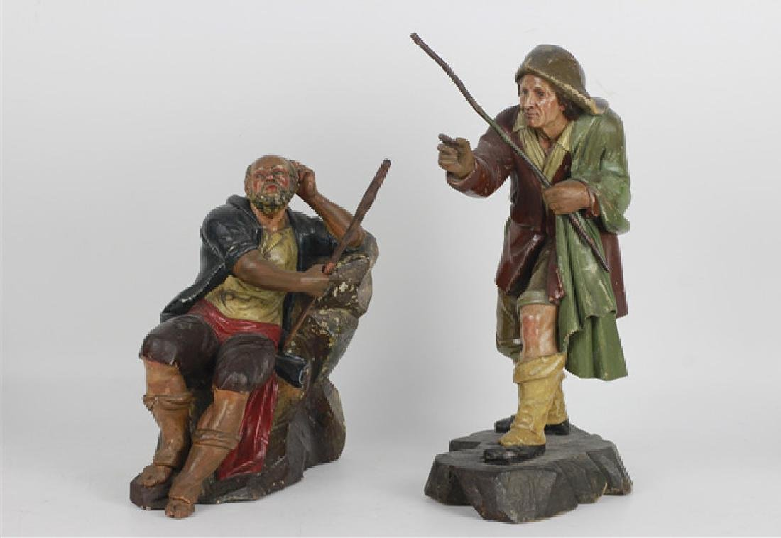 Two 18thc Italian Carved Wood & Painted Figures - 2