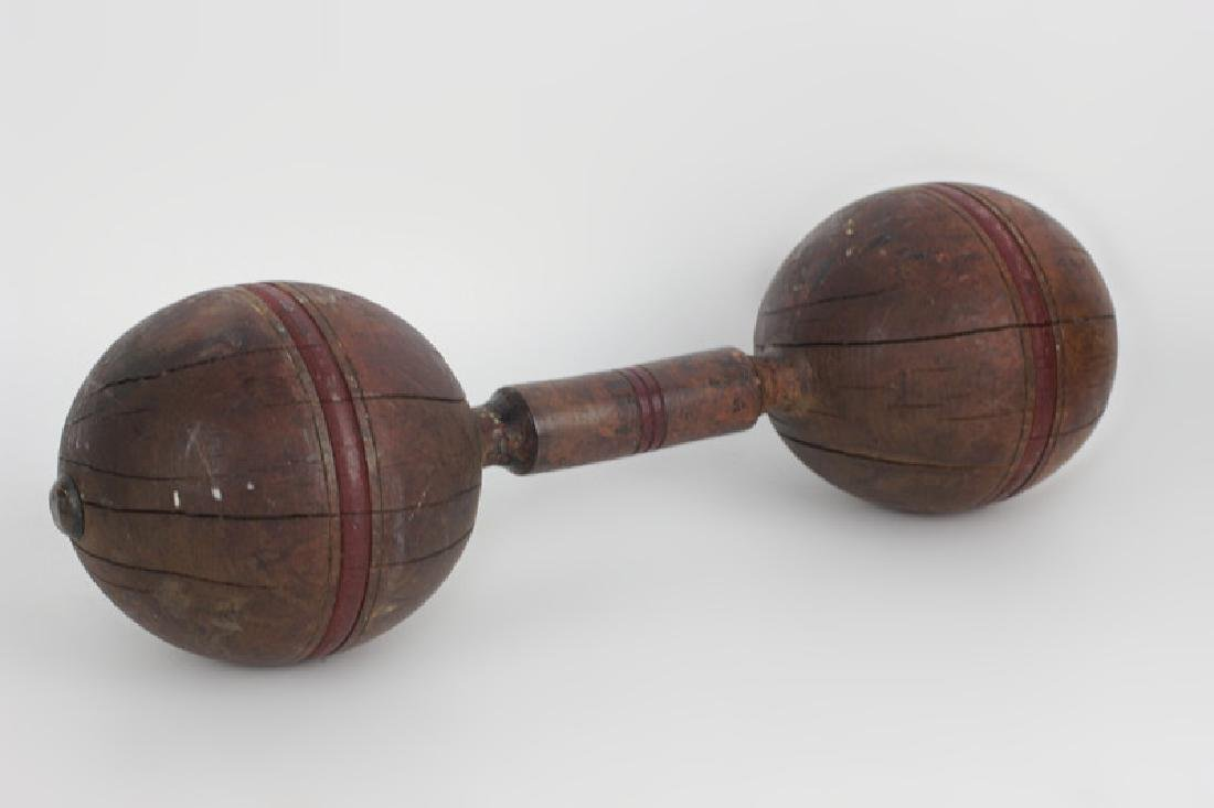 19thc Painted Wood Barbell - 2