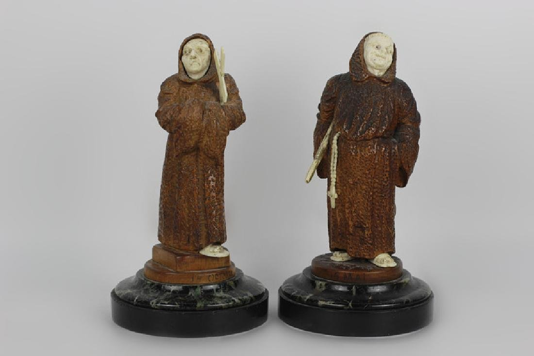 2 19thc Fantastic Carved Wood Figures of Monks